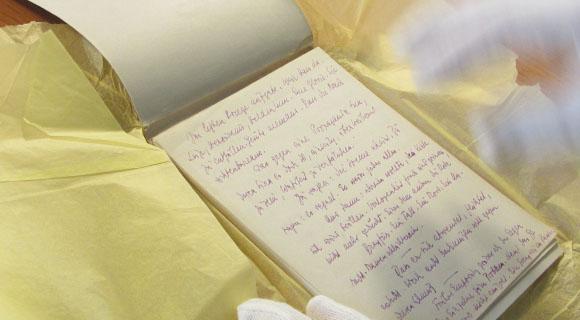 Stefan Zweigs Manuskript im Literaturarchiv.