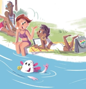 Nali schwimmt durch den Almkanal.